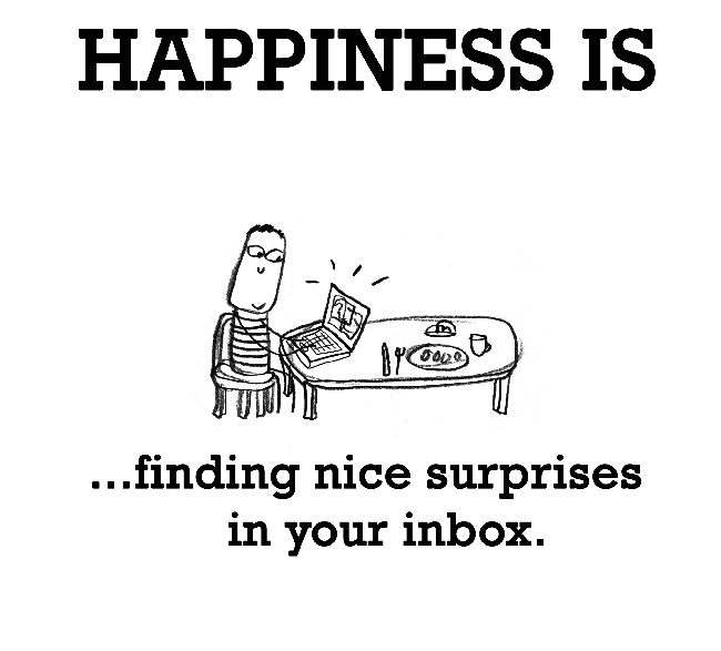 happiness if finding nice surprises in your inbox illustration