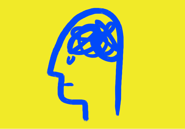 yellow background with blue head and scribble brain