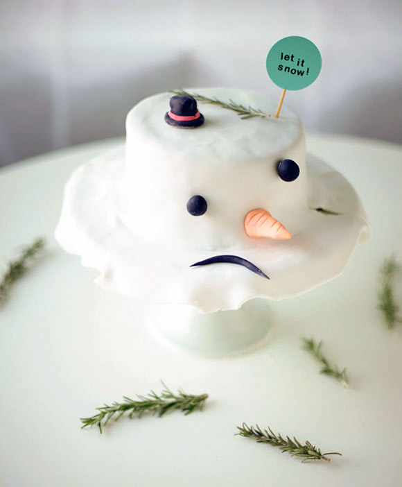 sad snowman cake